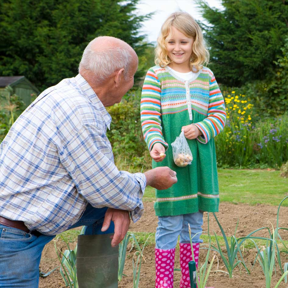 A man gardening and getting help from his granddaughter